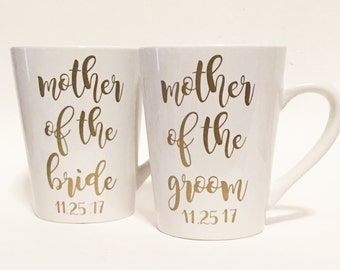 Mother of the Bride & Mother of the Groom Ceramic Coffee Mug with Date Gold in Script Font / Bridal Gift