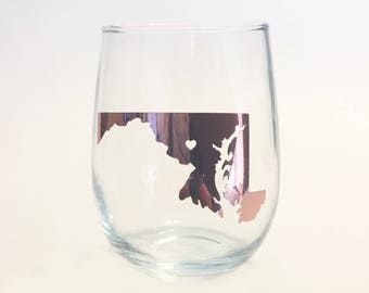 Gold Foil - Custom State Outline City Heart Stemless Wine Glass - Maryland