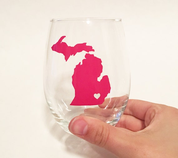 Maryland Gold Foil Custom State Outline City Heart Stemless Wine Glass