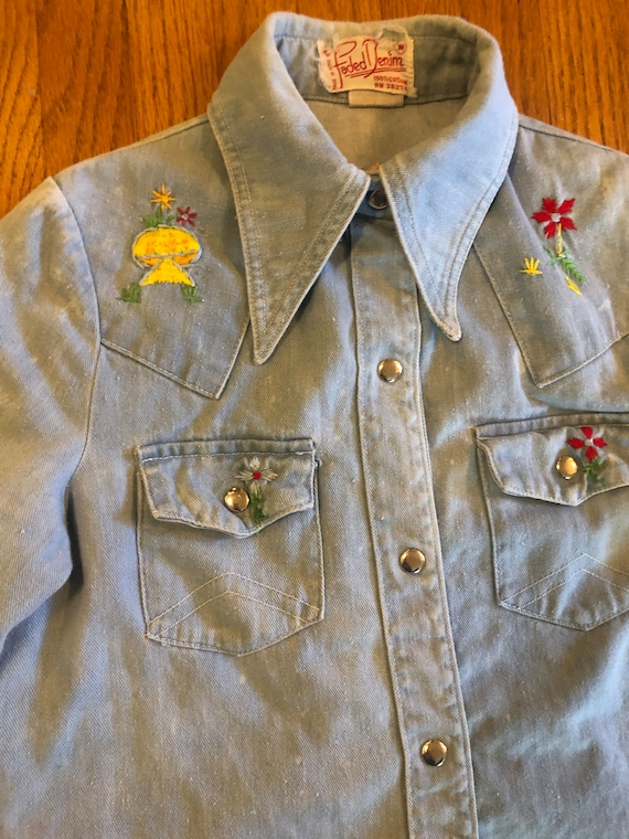 The sweetest sun faded embroidered denim button up