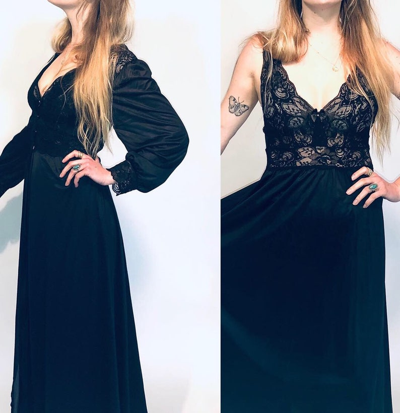 Black lace slip and Robe Combo