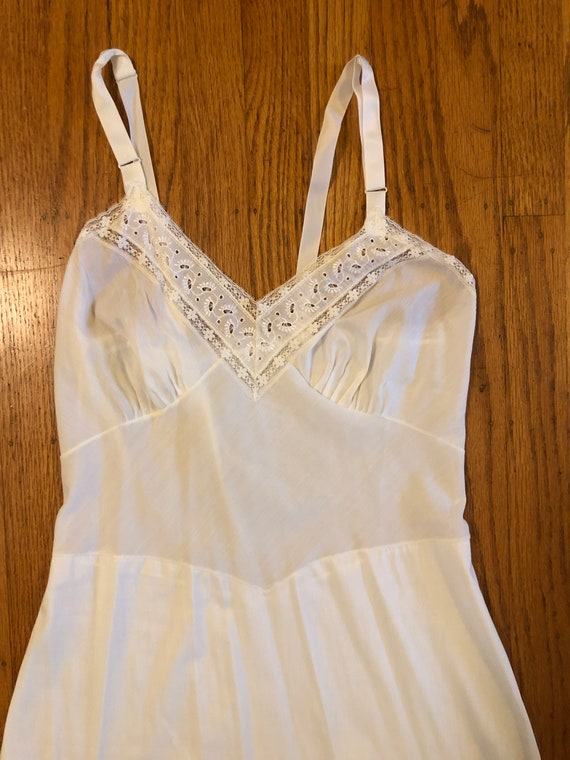 Vintage white cotton and lace slip