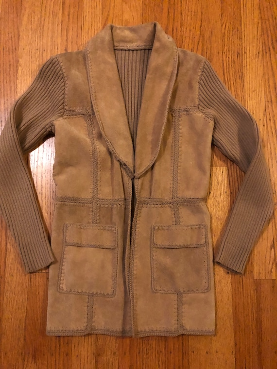 Vintage pieced suede and knit jacket