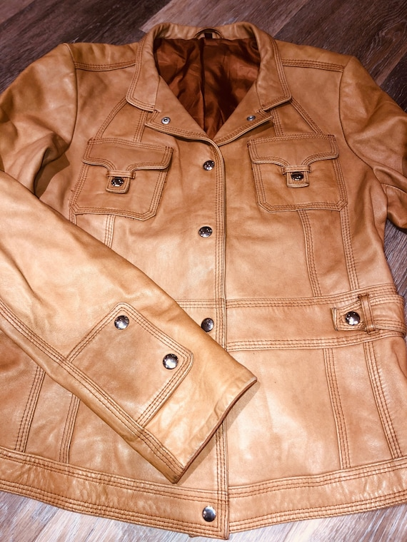 70s buttercream leather jacket