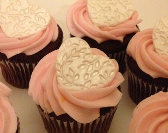 Decorative Heart Cupcake Toppers - Fondant