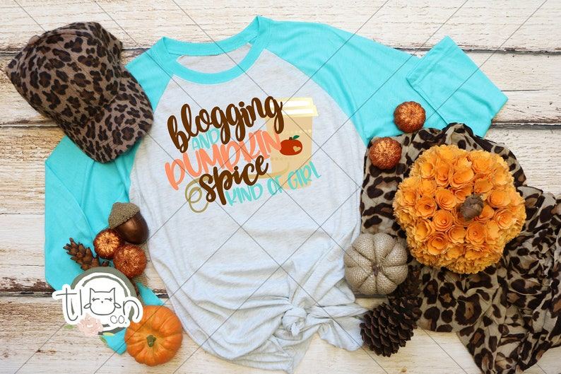 Fall TShirts For Woman  Raglan  Blogging And Pumpkin Spice image 0