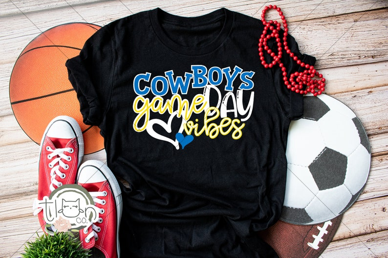 School Spirit T-Shirt  Cowboys Game Day Vibes Heather Black