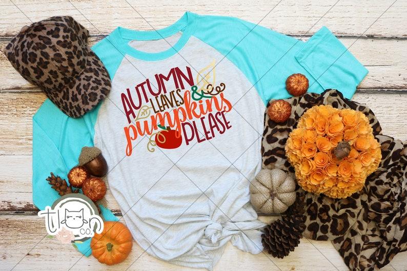 Fall TShirts For Woman  Raglan  Autumn Leaves & Pumpkins image 0