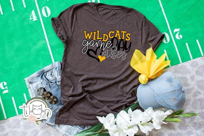 School Spirit T-Shirt  Wildcats Game Day Vibes Brown Triblend