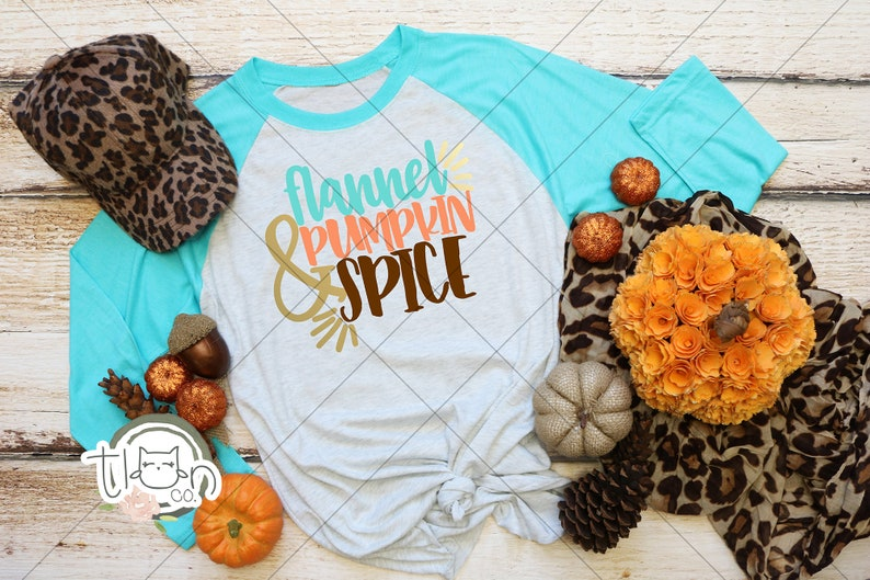 Fall TShirts For Woman  Raglan  Flannel & Pumpkin Spice image 0