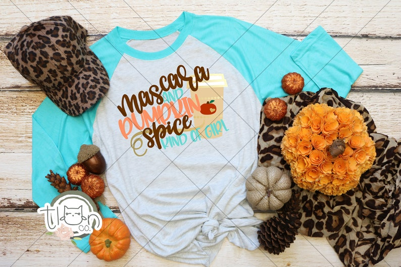 Fall TShirts For Woman  Raglan  Mascara And Pumpkin Spice image 0