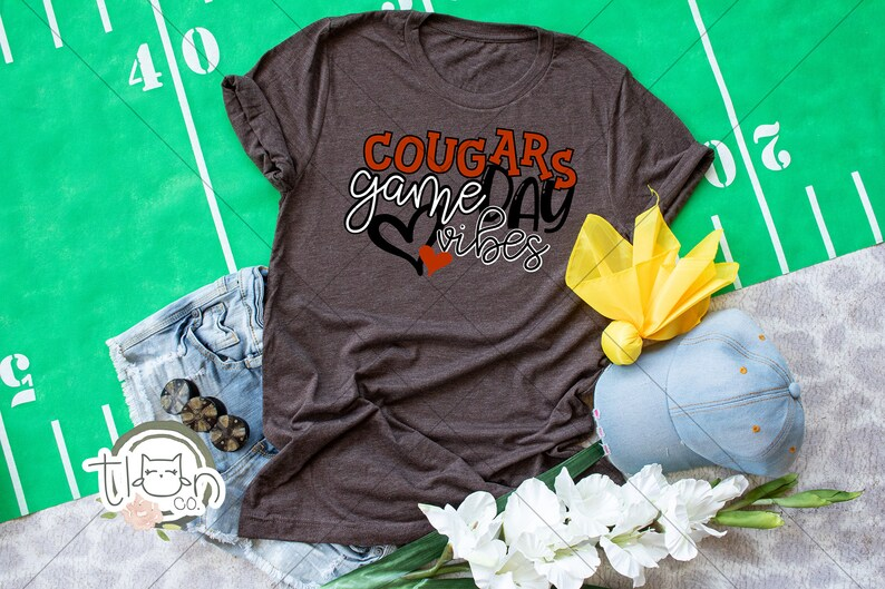 School Spirit T-Shirt  Cougars Game Day Vibes Brown Triblend
