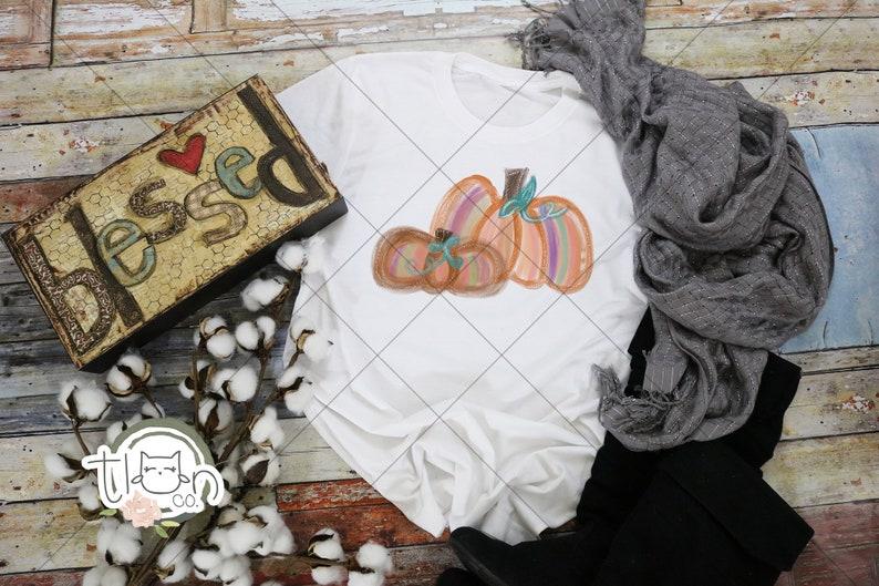 Fall TShirts For Woman  Watercolor Pumpkins image 0
