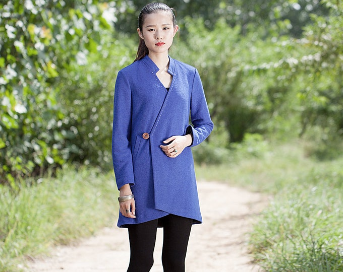 Short wool coat - High collar - Coat classic fall/winter  - Long sleeves coat - Made to order