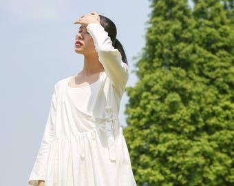 Linen dress- Spring/Summer dress - Long sleeves Dress - Pleated Dress - Women long dress - Made to order
