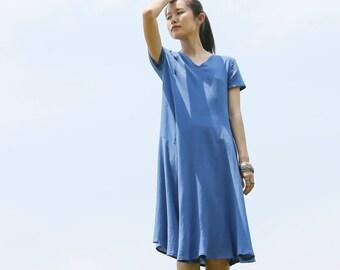Linen dress - Summer dress - Women short sleeves dress -V neck - Classic dress - Asymmetrical cut - Made to order