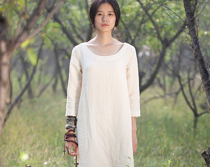 ON SALE/Size38/Ready to ship/Women long dress - Long sleeves Dress - Linen dress
