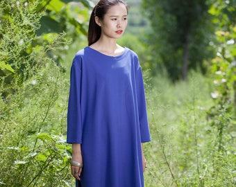 Cotton dress/Tunic - Dress/Tunic fall/winter - Short dress classic - Round Neck - Long sleeves dress - Made to order