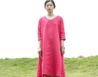 Linen dress - Spring/summer dress - Women long dress - 3/4 Sleeve Dress - Round neck - Made to order