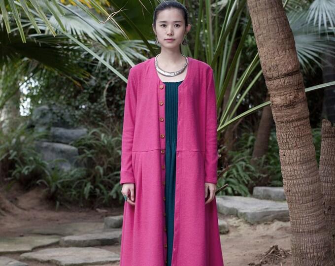 Long wool coat - V neck - Coat classic fall/winter  - Long sleeves coat - Made to order