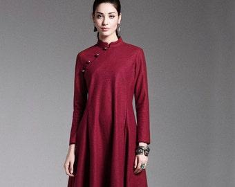 Long wool dress - Dress classic fall/winter - High collar - Long sleeves dress - Made to order