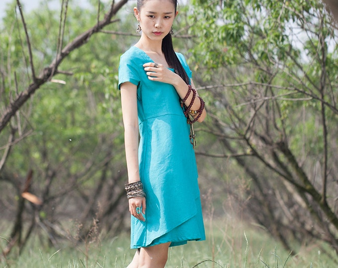 Women long dress - Short Sleeve Dress - Square neck - Pleated Dress/Decorative pleat - Summer dress - Linen dress - Made to order