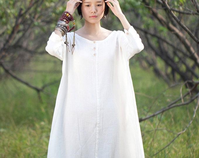 Women dress - Long sleeves Dress - Summer dress - Overclothes - Cotton dress - Made to order