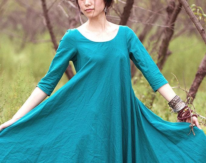 Women long dress - 3/4 Sleeve Dress - Round neck - Spring/summer dress - Linen dress - Made to order