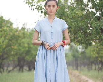 Women long dress - Short Sleeve Dress - Pleated Dress - Summer dress - Linen dress - Made to order