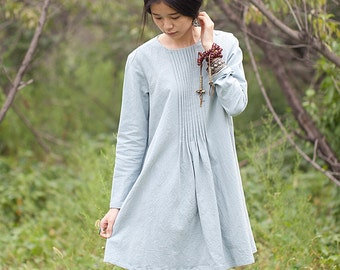 Dress with long sleeves - A style dress - Round neck - Dress Autumn / Winter - Linen dress - Made to order