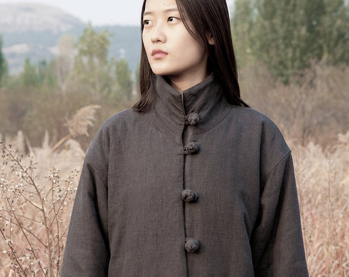 Cotton-padded linen coat - Thick long winter coat - Long sleeves coat - Chinese Style - High collar - Made to order