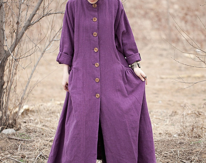 Long coat-dress classic - High collar - Linen coat-dress fall/winter  - Long sleeves coat-dress - Made to order