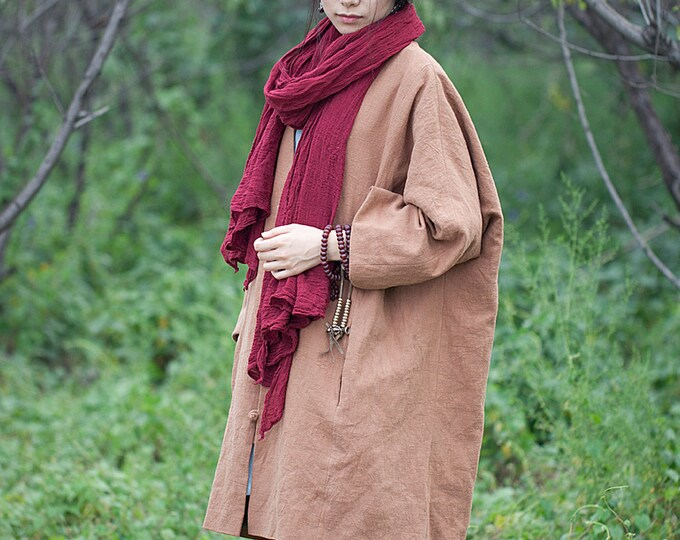 Long Jacket Fall / Winter - Long coat -  Long sleeves jacket - Col large V - Linen jacket - Cotton button - Made to order
