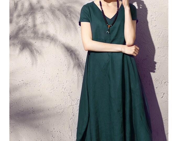 Linen dress - Summer dress - Women long dress - Short Sleeve Dress - V neck - Asymmetrical base - Made to order