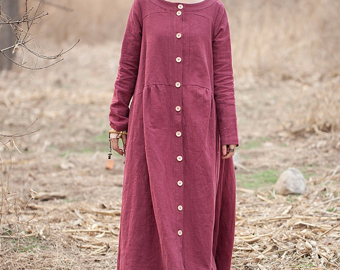 Long coat-dress classic - Round neck - Linen coat-dress fall/winter  - Long sleeves coat-dress - Made to order