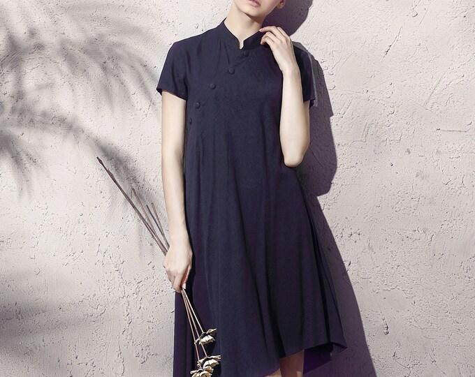 Women long dress - Short Sleeve Dress - Chinese collar - Asymmetrical base - Summer dress - Linen dress - Made to order