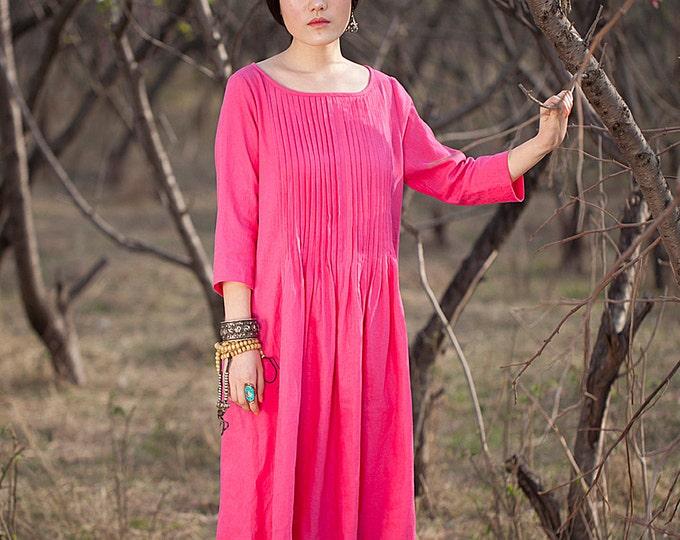 Women dress - 3/4 Sleeve Dress - Pleated Dress - Tunic fuchsia - Summer dress - Linen dress - Made to order