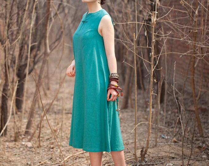 Women linen dress - Summer dress - Sleeveless Dress - Long retro dress - Chinese style - Made to order