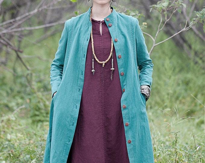Long linen coat - Long jacket Fall / Winter - Long sleeves jacket - High collar - Wooden button - Made to order