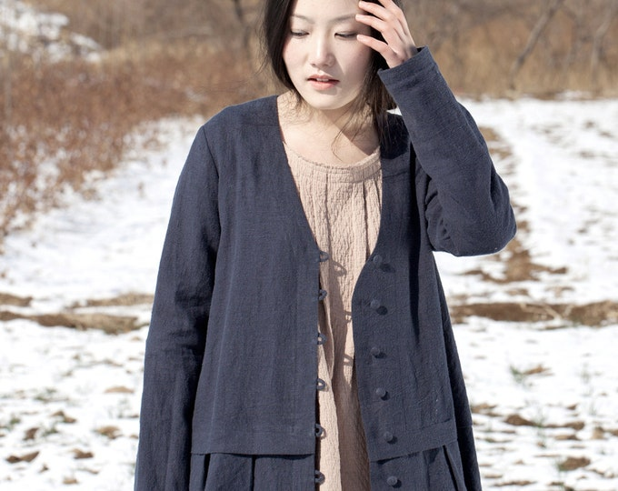 Linen jacket - Long Jacket Fall / Winter - Long sleeves jacket - Col large V - Cotton button - Made to order