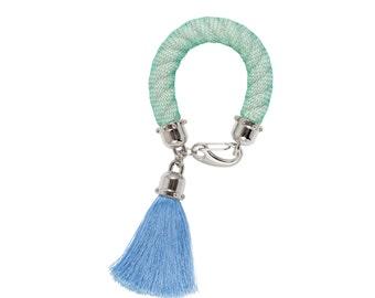 JELLY BEAN statement rope bracelet with tassel. tassel jewelry. statement bracelet