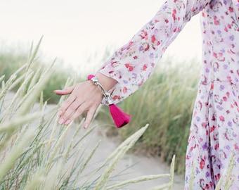 tassel bracelet. fuchsia pink statement rope bracelet with silk tassel.rose tassel jewelry. fashion jewellery. bracelet
