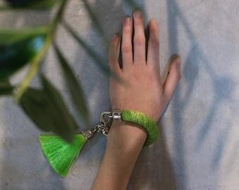 tassel bracelet. greenery statement rope bracelet with silk tassel. green tassel jewelry. fashion jewellery. bracelet