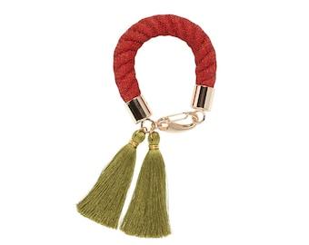 TANGERINE silk tassel bracelet. orange khaki olive rope statement bracelet. fashion jewelry