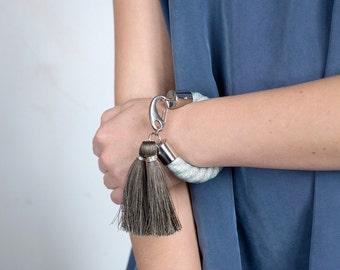 POWDER BLUE maxi statement bracelet in light blue with grey silk tassels. statement bracelet, rope bracelet, bold, boho bracelet, tassels