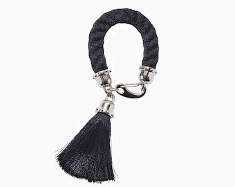 CAVIAR tassel bracelet. black statement rope bracelet with silk tassel. fashion jewelry. statement bracelet. bold. minimalist