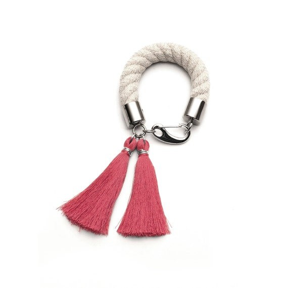 Cream and Pink Rope Bracelet