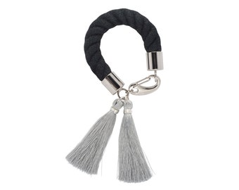 MONOCHROME silk tassel bracelet. grey. black, rope bracelet, statement bracelet, statement jewelry, tassel bracelet, cord bracelet