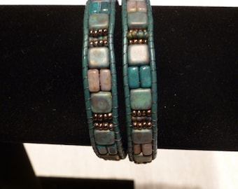One of a kind Czech Glass and Leather beaded Bracelet