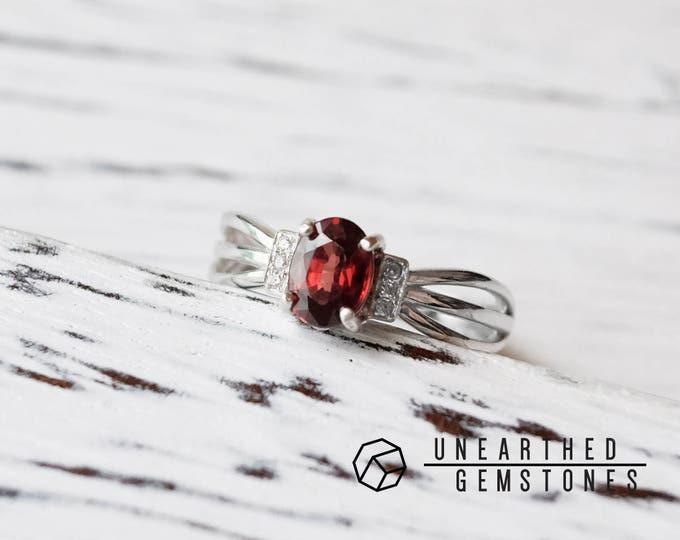 Adjustable Red Zircon Ring